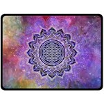 Flower Of Life Indian Ornaments Mandala Universe Fleece Blanket (Large)  80 x60 Blanket Front