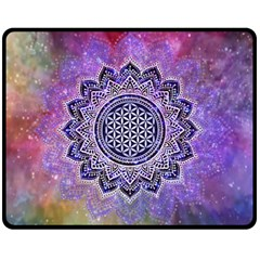 Flower Of Life Indian Ornaments Mandala Universe Fleece Blanket (Medium)