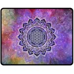 Flower Of Life Indian Ornaments Mandala Universe Fleece Blanket (Medium)  60 x50 Blanket Front