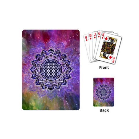 Flower Of Life Indian Ornaments Mandala Universe Playing Cards (Mini)