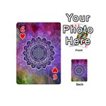 Flower Of Life Indian Ornaments Mandala Universe Playing Cards 54 (Mini)  Front - Heart6