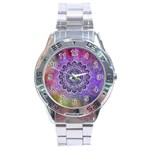 Flower Of Life Indian Ornaments Mandala Universe Stainless Steel Analogue Watch Front