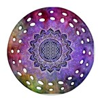 Flower Of Life Indian Ornaments Mandala Universe Ornament (Round Filigree)  Front