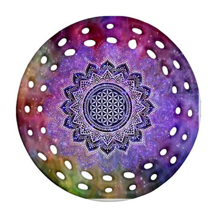 Flower Of Life Indian Ornaments Mandala Universe Ornament (Round Filigree)