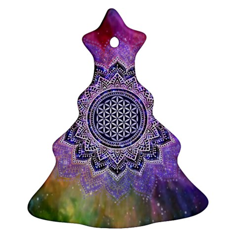 Flower Of Life Indian Ornaments Mandala Universe Ornament (Christmas Tree)