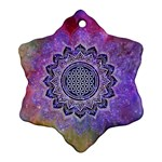 Flower Of Life Indian Ornaments Mandala Universe Snowflake Ornament (2-Side) Back