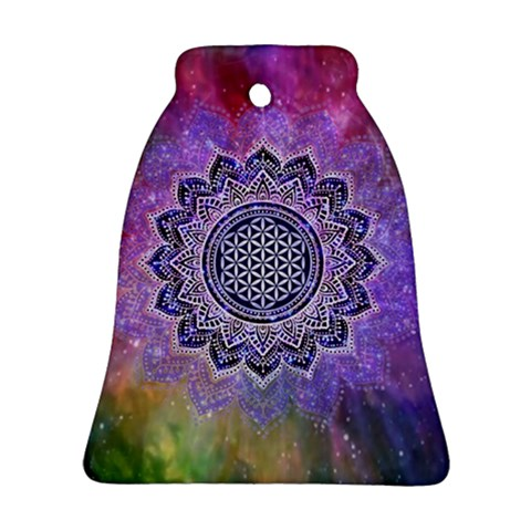 Flower Of Life Indian Ornaments Mandala Universe Bell Ornament (2 Sides)