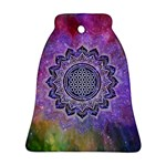 Flower Of Life Indian Ornaments Mandala Universe Bell Ornament (2 Sides) Front