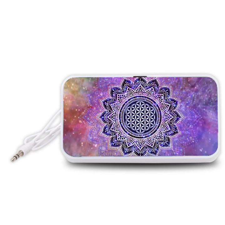 Flower Of Life Indian Ornaments Mandala Universe Portable Speaker (White)
