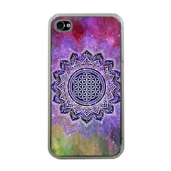 Flower Of Life Indian Ornaments Mandala Universe Apple Iphone 4 Case (clear)