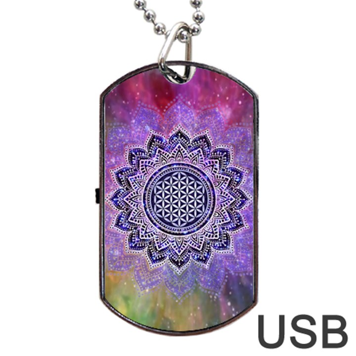 Flower Of Life Indian Ornaments Mandala Universe Dog Tag USB Flash (Two Sides)