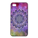 Flower Of Life Indian Ornaments Mandala Universe Apple iPhone 4/4s Seamless Case (Black) Front