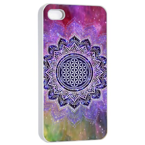 Flower Of Life Indian Ornaments Mandala Universe Apple iPhone 4/4s Seamless Case (White)