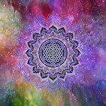 Flower Of Life Indian Ornaments Mandala Universe Twin Hearts 3D Greeting Card (8x4) Inside