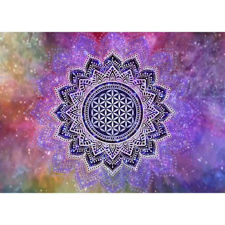 Flower Of Life Indian Ornaments Mandala Universe Birthday Cake 3D Greeting Card (7x5)
