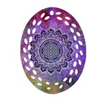 Flower Of Life Indian Ornaments Mandala Universe Oval Filigree Ornament (2-Side)  Back