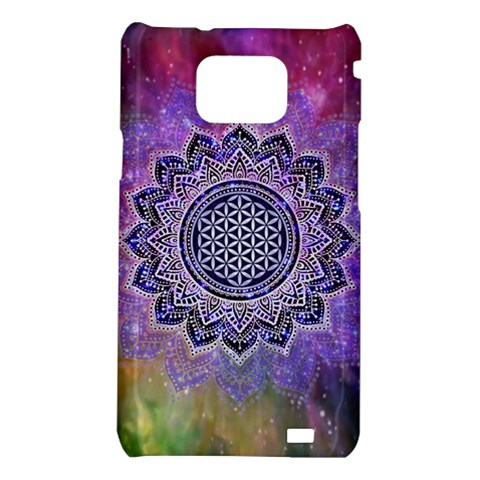 Flower Of Life Indian Ornaments Mandala Universe Samsung Galaxy S2 i9100 Hardshell Case