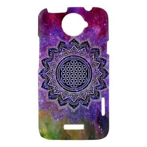 Flower Of Life Indian Ornaments Mandala Universe HTC One X Hardshell Case