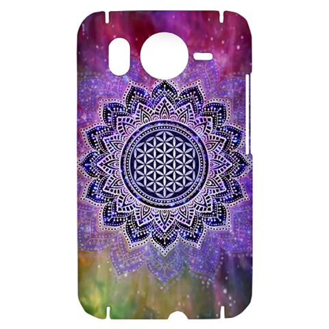Flower Of Life Indian Ornaments Mandala Universe HTC Desire HD Hardshell Case