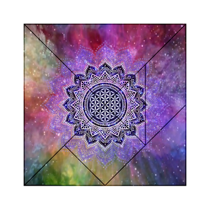 Flower Of Life Indian Ornaments Mandala Universe Acrylic Tangram Puzzle (6  x 6 )