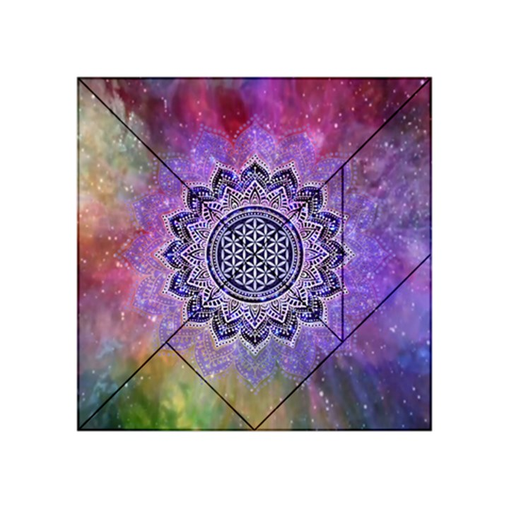 Flower Of Life Indian Ornaments Mandala Universe Acrylic Tangram Puzzle (4  x 4 )