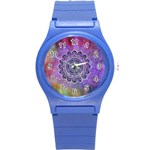 Flower Of Life Indian Ornaments Mandala Universe Round Plastic Sport Watch (S) Front