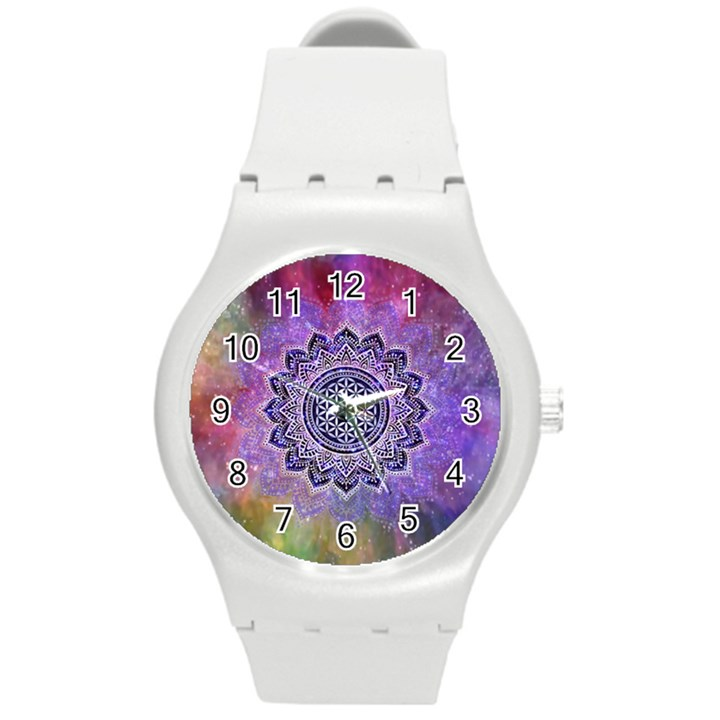 Flower Of Life Indian Ornaments Mandala Universe Round Plastic Sport Watch (M)