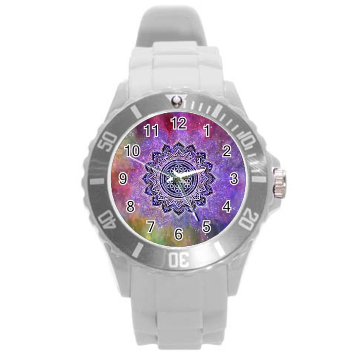 Flower Of Life Indian Ornaments Mandala Universe Round Plastic Sport Watch (L)