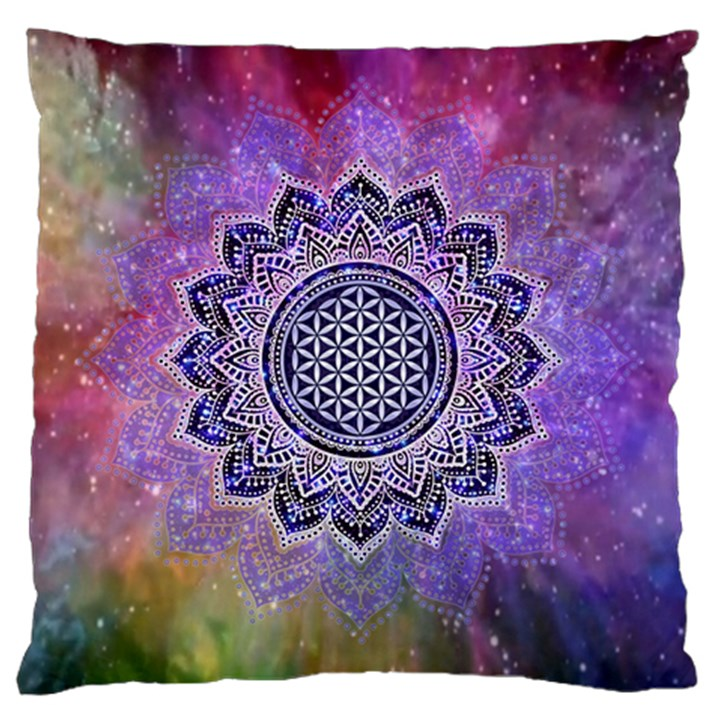 Flower Of Life Indian Ornaments Mandala Universe Large Cushion Case (One Side)
