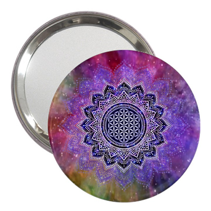 Flower Of Life Indian Ornaments Mandala Universe 3  Handbag Mirrors