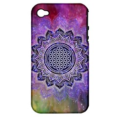 Flower Of Life Indian Ornaments Mandala Universe Apple iPhone 4/4S Hardshell Case (PC+Silicone)