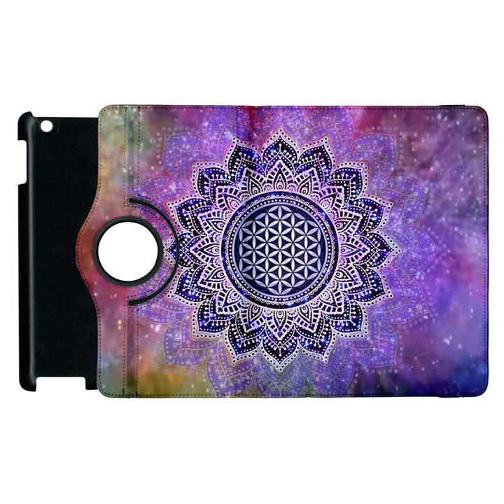Flower Of Life Indian Ornaments Mandala Universe Apple iPad 2 Flip 360 Case