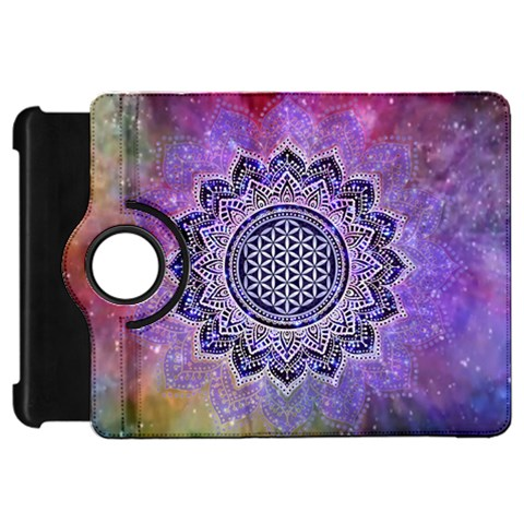 Flower Of Life Indian Ornaments Mandala Universe Kindle Fire HD Flip 360 Case