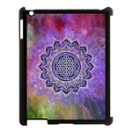Flower Of Life Indian Ornaments Mandala Universe Apple iPad 3/4 Case (Black) Front