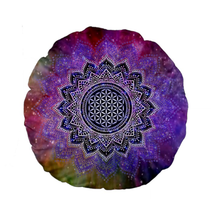 Flower Of Life Indian Ornaments Mandala Universe Standard 15  Premium Round Cushions