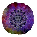 Flower Of Life Indian Ornaments Mandala Universe Large 18  Premium Round Cushions Back