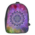 Flower Of Life Indian Ornaments Mandala Universe School Bags (XL)  Front