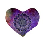 Flower Of Life Indian Ornaments Mandala Universe Standard 16  Premium Heart Shape Cushions Front