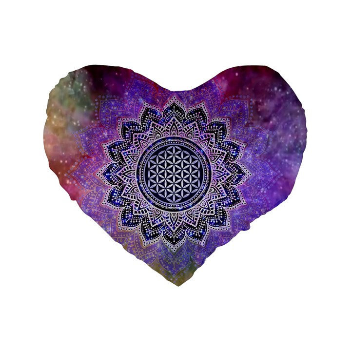 Flower Of Life Indian Ornaments Mandala Universe Standard 16  Premium Heart Shape Cushions