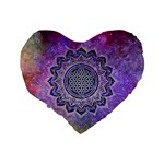 Flower Of Life Indian Ornaments Mandala Universe Standard 16  Premium Heart Shape Cushions Back