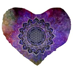 Flower Of Life Indian Ornaments Mandala Universe Large 19  Premium Heart Shape Cushions