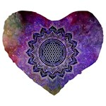 Flower Of Life Indian Ornaments Mandala Universe Large 19  Premium Heart Shape Cushions Front