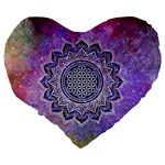 Flower Of Life Indian Ornaments Mandala Universe Large 19  Premium Heart Shape Cushions Back