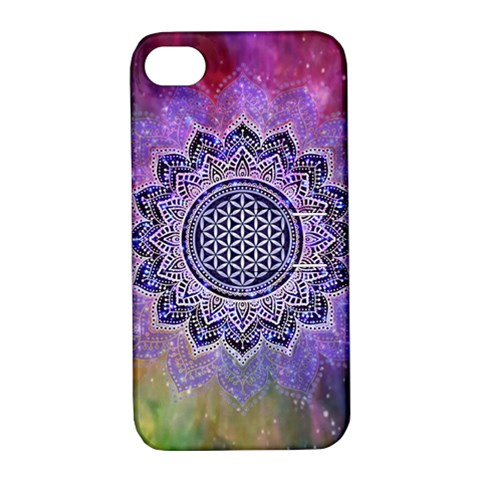Flower Of Life Indian Ornaments Mandala Universe Apple iPhone 4/4S Hardshell Case with Stand