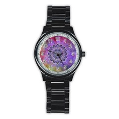 Flower Of Life Indian Ornaments Mandala Universe Stainless Steel Round Watch