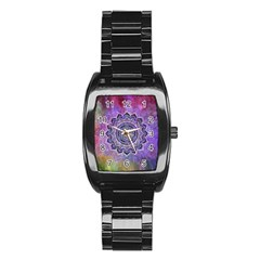 Flower Of Life Indian Ornaments Mandala Universe Stainless Steel Barrel Watch