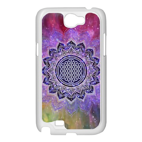 Flower Of Life Indian Ornaments Mandala Universe Samsung Galaxy Note 2 Case (White)