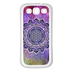 Flower Of Life Indian Ornaments Mandala Universe Samsung Galaxy S3 Back Case (white)