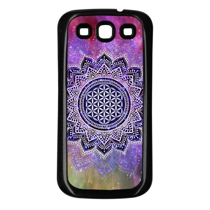 Flower Of Life Indian Ornaments Mandala Universe Samsung Galaxy S3 Back Case (Black)
