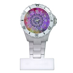 Flower Of Life Indian Ornaments Mandala Universe Plastic Nurses Watch
